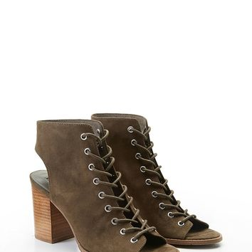 Lace-Up Cutout Ankle Boots