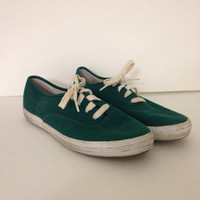 Vintage Green Ribbed Textured Keds Lace Up Womens Size 8.5M School Colors College Colors Football Sports Team Spirit