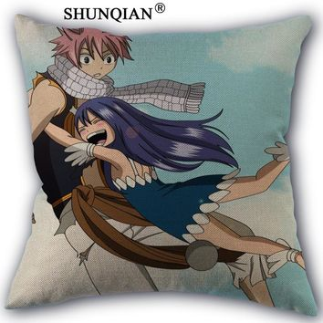 fairy tail juvia and gray Pillowcase Custom Cotton Linen Square Decorative Pillow Cases Cover Zippered 45x45cm one side
