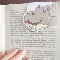 Magnetic bookmark of Hank the Hippo! Book accessories, Childrens art, School supplies, Book gift, Animal collectibles, BOOK FARM ANIMALS