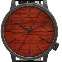 Men's Komono 'Winston' Round Dial Leather Strap Watch, 44mm