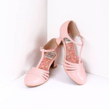 Bettie Page Light Pink Leatherette Lucy T-Strap Heels