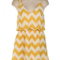 Summer Recreation Double Strap Chevron Print Dress in Sunshine Yellow | Sincerely Sweet Boutique