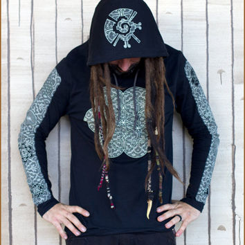 Platonic Serpent Tshirt / Organic Cotton / Long sleeved / Hooded Tshirt / Mens Shirt / sacred geometry / Festival Shirt