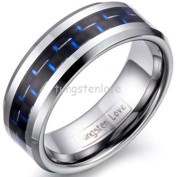 MDIG57D 8mm Mens Tungsten Carbide Rings Wedding Band with Blue & Black Carbon Fiber Inlay Engagement Ring For Men Jewelry Gift for Boys