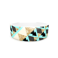 "Nika Martinez ""Glitter Triangles in Gold & Teal"" Blue Brown Pet Bowl"