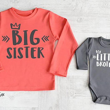 Big Sister Little Brother Set. Big Sister Gift. Little Brother Outfit. Big Sister Shirt.Matching Brother Sister Gifts.