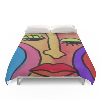 Society6 Funky Abstract Face Digital Painting Duvet Cover