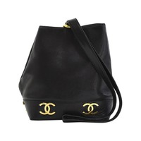 1990s Chanel Black Caviar Leather Drawstring Bucket Bag