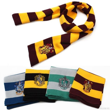 New Harry Potter Knitting Scarf Movie Fans' Favorite School Unisex Striped Gryffindor Scarves = 1946146628
