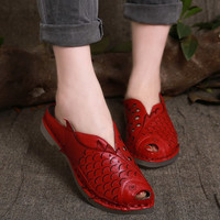 Handmade Women's soft Leather Hollow Sandals fish-shaped Hand Carved,Summer peep toe Sandals for Women,Flat Shoes