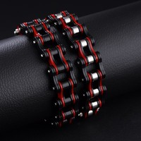 316L Stainless Steel Cool Men Biker Bicycle Motorcycle Chain Link Men's Bracelets Bangles Fashion 4