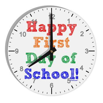 """Happy First Day of School 8"""" Round Wall Clock with Numbers"""