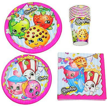 Shopkins Birthday Part Pack Bundle - Lunch Plates, Dessert Plates, Napkins, cup