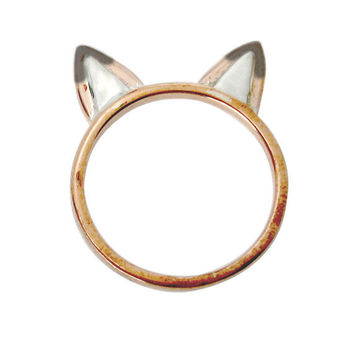 Fox Ears Ring Copper with Sterling Silver Accents