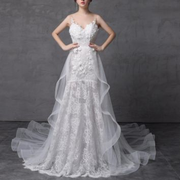 Shinny Sparkle Wedding Dress with Detachable Train Illusion Fashion Delicate Handmade Flower