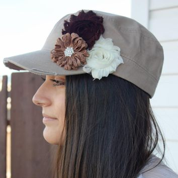 Khaki Cadet Hat with Flowers