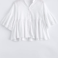 White Bell Sleeve Frilled Blouse