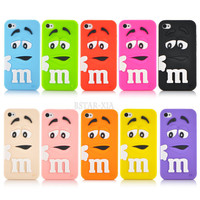 Soft silicone cute M&M Chocolate colorful Rainbow Beans phone case cartoon cover For iphone 4 4s PT1358