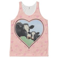 Holstein Cow and Calf Pink Heart All-Over Print Tank Top