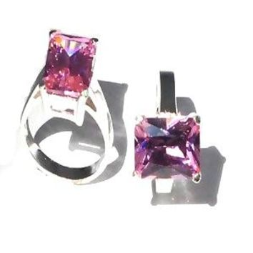 Sterling Silver Large Baguette Cut Pink Rose CZ Cubic Zirconia Ring