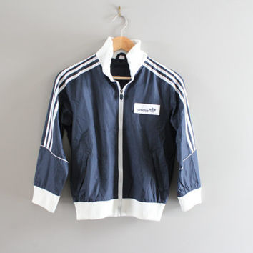 Free US Shipping Kid Adidas Windbreaker Jacket Navy Blue Boy Adidas Zip Up Jacket Water Proof 90s Vintage Size 9 - 10 Yrs Old #C066A