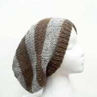 Knitted slouchy beanie brown and gray  5118