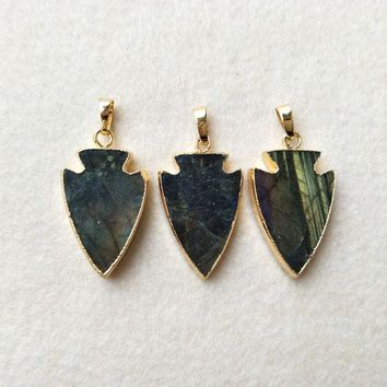 5pcs Natural Labradorite Pendant Bead,Gold color Arrowhead, Peacock Shining Labradorite Arrow DIY Jewelry necklace Making P262