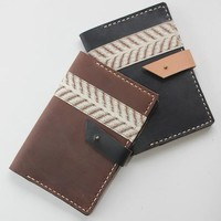 Chevron Leather Passport Cover