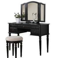 Bobkona St. Croix Collection Vanity Set with Stool, Black