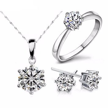 Silver Color Cubic Zircon Statement Jewelry Set