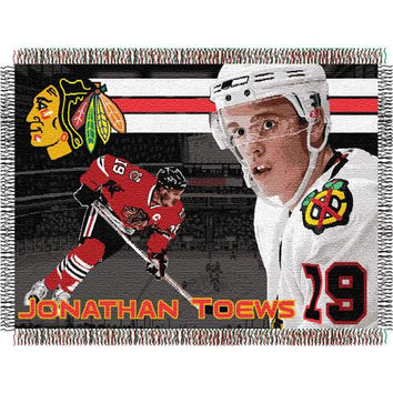Johnathan Toews #19 Chicago Blackhawks NHL Woven Tapestry Throw (48x60)