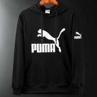 PUMA 2018 autumn new knitted men's sports and leisure hooded sweater black