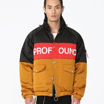 Three-Tone Puffer Jacket in Black/Red/Gold