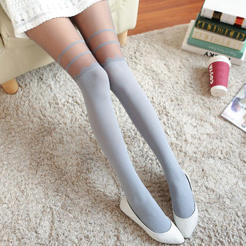 Women Stretch Velvet Pantyhose Tights Floral Lace Cuffs Thigh-highs Stocking
