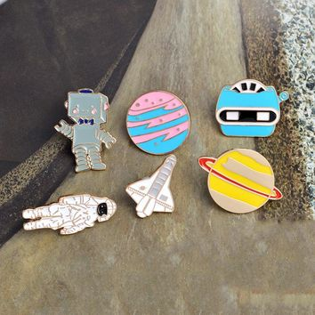 Enamel Space shuttle Universe Astronaut Robot X-men Planet Metal Pin button Broches de animais Cheap brooch Anime badges Jewelry