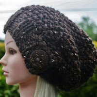 Hand Knit hat- Women's hat- dark brown tweed- slouchy- beanie- hat with big coconut button- winter hat- Rustic Mega Chunky with wool