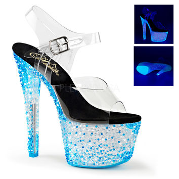 "Crystalize 708PS Clear Ankle Strap Upper Shoe Neon Stones 7"" Platform Heel - Blue"