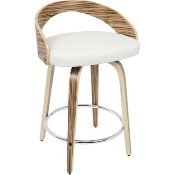 Grotto Mid-Century Modern Counter Stool, Zebra Wood & White PU