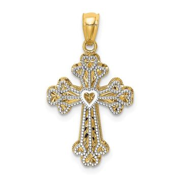14k Yellow and White Gold Y/W Gold Polished Filigree 2 Level Heart Cross Pendant Length 30mm