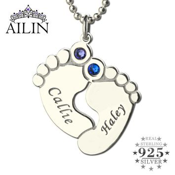 Baby Feet Necklace, Personalized Birthstone Names Necklace, Silver Tone, Love Little Baby Jewelry, a Gift To Mom