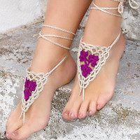 Handmade Crochet Barefoot Sandals ,Nude shoes, Foot jewelry, Wedding, Victorian Lace, Sexy, Yoga, Anklet , Bellydance,Steampunk, Summer Beach Pool,Ethnic,Gift-16