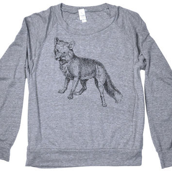 Fox - Grey Slouchy Sweater - Womens Clothing - Womens Grey Sweatshirt - Slouchy Sweatshirt - Woodland Fox Print by Locomotive Clothing