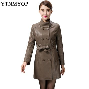 Mother Clothing Plus Size L-5XL Long Leather Trench 2017 Spring And Autumn Women's Leather Coat Double Breasted Sashes Jackets