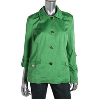 Charter Club Womens Smocked Adjustable Sleeves Jacket