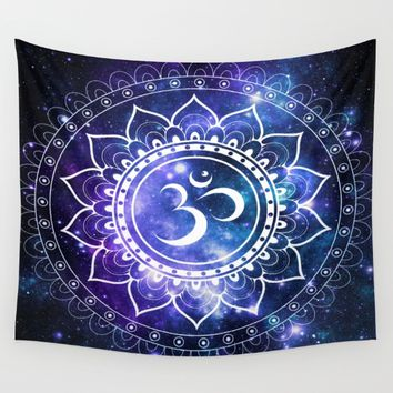 Om Mandala: Violet & Teal Galaxy Wall Tapestry by 2sweet4words Designs