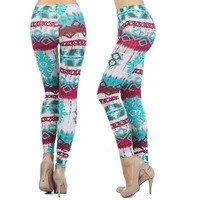 Multi Colors Faux Tie-Dye Tribal Print Sexy Tights Ankle Leggings