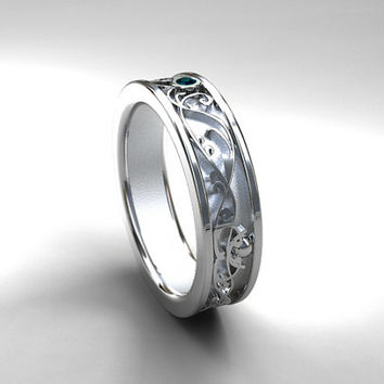 Wide Teal Diamond Filigree Ring Wedding Band White Gold Yello