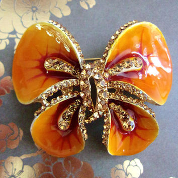 Golden Orange Red Butterfly Enamel Brooch, Yellow Rhinestones, Vintage