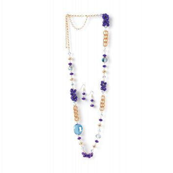 Beaded Radiant Orchid Long Chain Necklace And Earrings Set